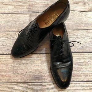 Salvatore Ferragamo Black Leather Oxford Shoes 9.5